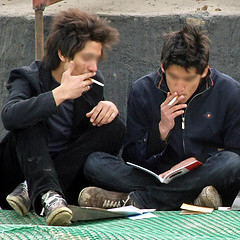 teenage boys smoking