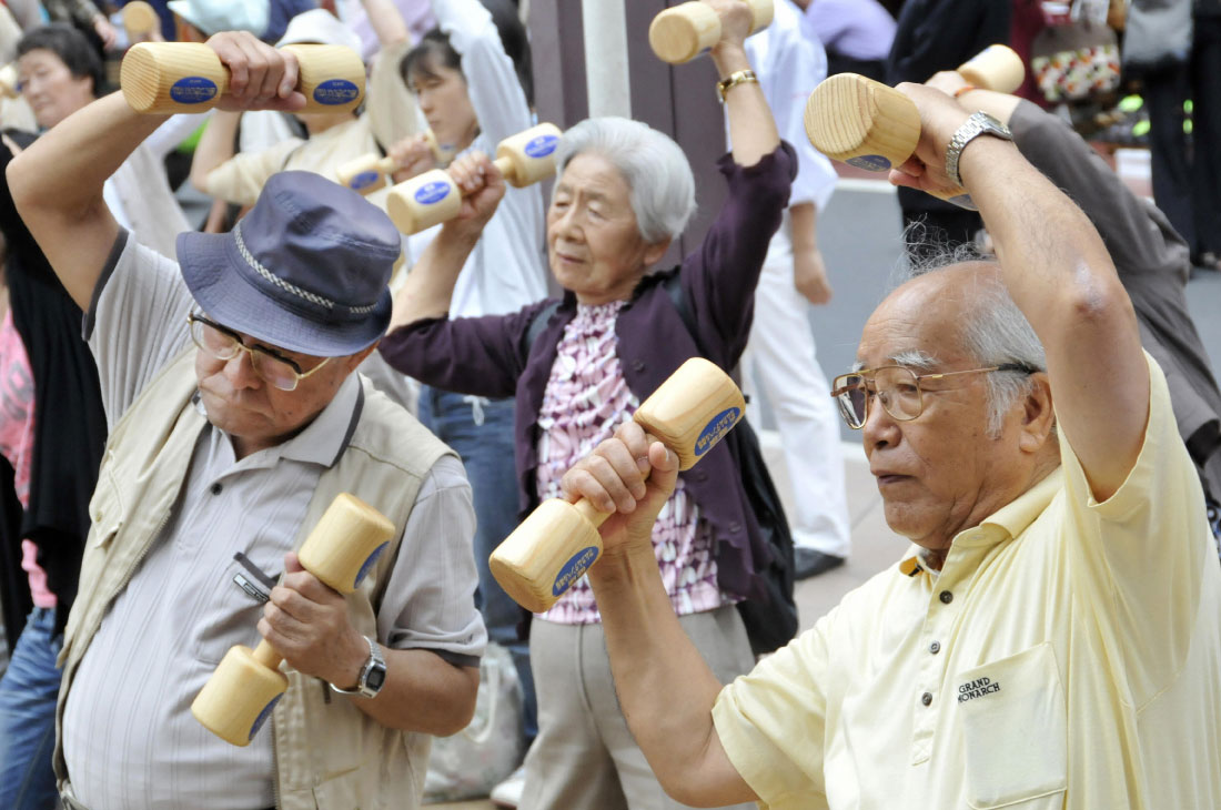 Japanese elders exercising