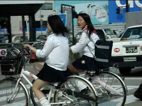 Schoolchildren Bike to School in Japan